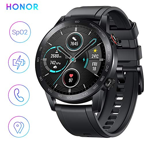 HONOR Smartwatch Magic Watch 2 Fitness Tracker Watch Hombre Mujer Smart Watch, 5 ATM Smart Watch Muñeca Monitor de ritmo cardíaco Presión Smartband, GPS, 46 mm, Llamada por Bluetooth, Negro mate