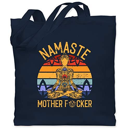 Shirtracer Wellness, Yoga & Co. - Namaste Mother - Unisize - Navy Blau - XT600_Jutebeutel_lang - WM101 - Stoffbeutel aus Baumwolle Jutebeutel lange Henkel