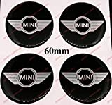 Adesivi Compulsivi Pegatinas tapacubos Mini Cooper, 60mm, Wing diseño, Efecto 3D, Sticker de Resina