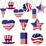 30 Pieces 4th of July Decorations Hanging Wooden Ornaments Patriotic Hanging Decorations for Indoor Outdoor Independence Day Labor Day Party Decor