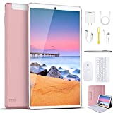 Tablet 10 Inch, Android 9.0 Pie Tablets with Wireless Keyboard Case and Mouse, 3GB RAM 64GB ROM, Quad Core, Google GMS Certified, IPS HD Display, 8MP Dual Camera, Dual 4G SIM, 8000mAh, WiFi - Pink