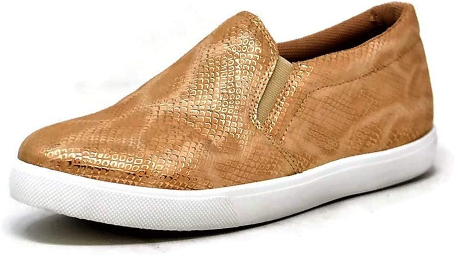 Mata shoes Women's Fashion Sneakers Round Toe Casual Loafer Slip on (color   gold, Size   10 M US)