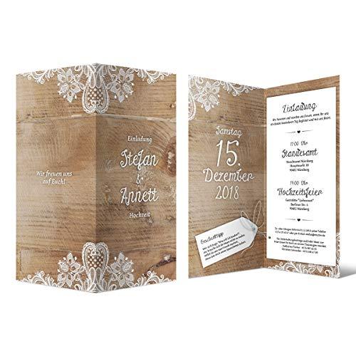 20 x Hochzeitseinladungen individuell mit Ihrem Inhalt als DIN Lang hoch Klappkarte 99 x 210 mm - Rustikal mit weißer Spitze