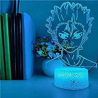 giyiohok 鬼滅の刃鎌戸ねずこアニメ3D常夜灯リモコン付き16色LEDタッチランプテーブルランプ寝室装飾ランプ子供用ギフト-N16-N19