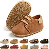 E-FAK Baby Boys Girls Shoes Leather Lace Up Infant Sneakers Rubber Sole Moccasins Oxford Loafers Toddler Walking Wedding Uniform Dress Shoes(06 Brown, 12-18 Months)