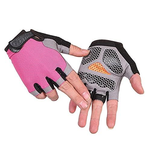 Guantes unisex de medio dedo de gimnasio para piragüismo, windsurf, kiteboarding vela, cincha ajustable (mejora-rosa L)