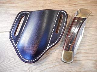 Pancake Custom Leather Knife Sheath fits a Buck 110/112 Left or Right Draw. Buffalo Leather. Dark Oiled