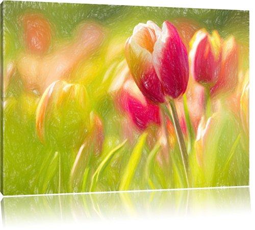 Pixxprint Blühende Tulpen als Leinwandbild | Größe: 60x40 | Wandbild| Kunstdruck | fertig bespannt