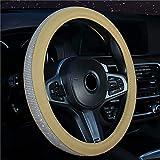 Qagazine Cubierta de rueda de coche brillante color universal vehículo volante cubierta elegante apariencia PU Rhinestone auto dirección Accesorios para coche