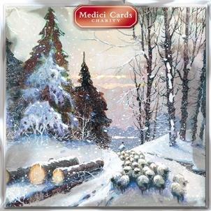 Medici Charity kerstkaarten - brengen naar huis de kudde (5323) - pak van 8 kaarten verkocht in hulp van Marie Curie Cancer Care, Parkinsons, Oxfam, CLIC Sargent, Macmillan Cancer Support en RNLI