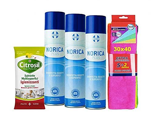 NORICA PLUS SET 3 SPRAY DISINFETTANTI 300 ML + CITROSIL 40 SALVIETTE MULTISUPERFICI IGIENIZZANTE+ 7 PANNI MICROFIBRA