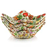 Shila Bowl Huggers, 100% Cotton 4 Pack Microwave Safe Hot Bowl Holder, Keep Your Hands Cool & Your Meal Warm, Reversible Heat Resistant Bowl Cozies for Soup, Rice & Pasta Bowls (Vegetables)