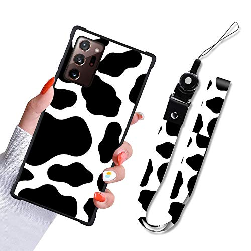 Samsung Galaxy Note 20 5G Case Cow Print Design Slim Hybrid Hard PC Plus TPU Bumpers Full Protective Cell Phone Bumper Cover with Lanyard Strap Holder for Women Girls for Samsung Note 20 5G 6.7 Inch