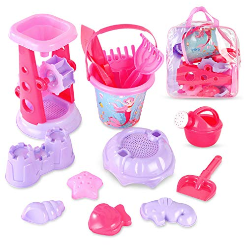 Liberty Imports Pink Princess Sand Wheel Beach Set Toy with Zippered Bag for Girls - Includes Sand Sifter, Mermaid Bucket, Water Pot, Play Tools and Molds (13 Pcs Playset)