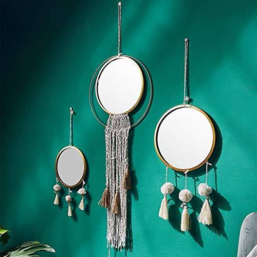 Wandspiegel Rund Goldrahmen Hängend Modern Dekorativ mit Handgemachtes Quaste für Wohnzimmer Wandschmuck