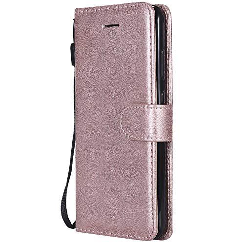 DENDICO Cover Huawei P10 Lite, Premium Portafoglio PU Custodia in Pelle, Flip Libro TPU Bumper Caso per Huawei P10 Lite - Rosa
