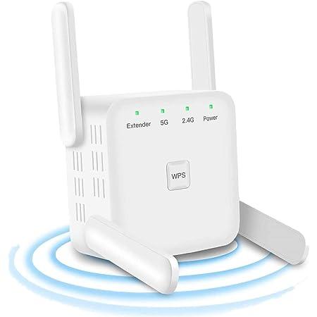 Amplificador WiFi Repetidor WiFi 1200Mbps, Amplificador Señal WiFi Banda Dual 2.4GHz y 5GHz Extensor de WiFi, 4 Antenas, Puerto Ethernet LAN/WAN, ...