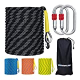 WEREWOLVES Climbing Rope, 32ft/65ft/98ft/165ft/230ft High Strength Outdoor Safety Static Rock Climbing Rope, Escape Rope, Rappelling Rope, Fire Rescue Parachute Rope (Blcak 8mm, 32FT(10M))