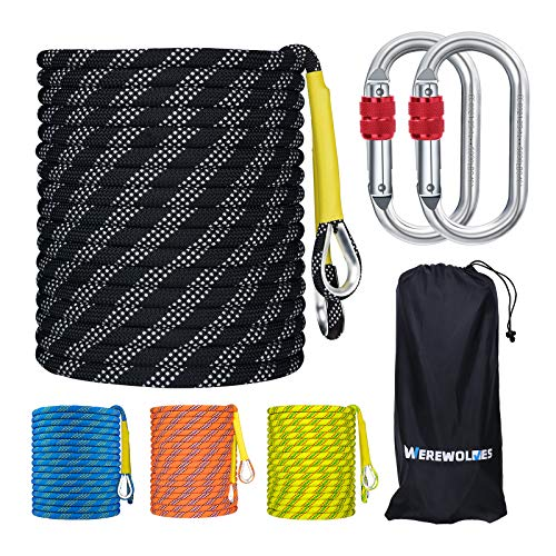rock climbing ropes WEREWOLVES 8MM Climbing Rope, 32ft/65ft/98ft/165ft/246ft High Strength Outdoor Safety Static Rock Climbing Rope, Escape Rope, Rappelling Rope, Fire Rescue Parachute Rope
