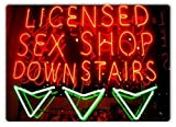 NCK Great Tin Sign Licensed Sex Shop Downstairs Neon Aluminum Metal Sign Wall Decoration 12x8 INCH