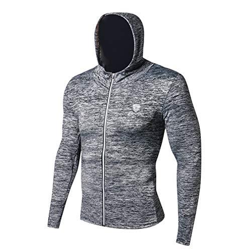 emansmoer Homme Sports Casual Running Training Sweatshirt Long Sleeve Cycling Fitness Hoodie Jacket Coat Basketball Tops(3XL, Grey)