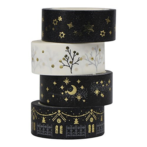 UOOOM 4 Rouleaux Washi Tape Doré Ruban Adhésif Papier Décoratif Masking Tape Scrapbooking (Gold Design 9057)