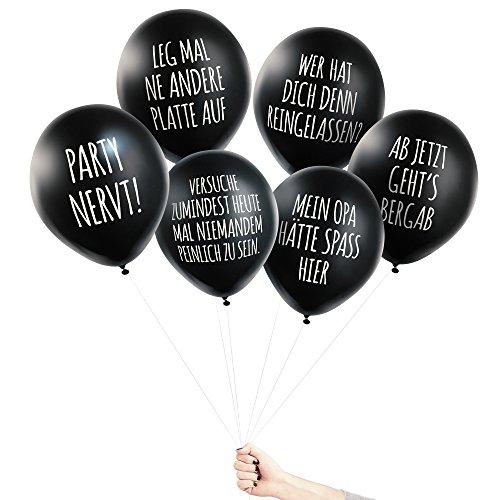 Pechkeks Anti-Party-Ballons, schwarze Luftballons mit schrägen Sprüchen, Mit Ansage-Set, schwarz