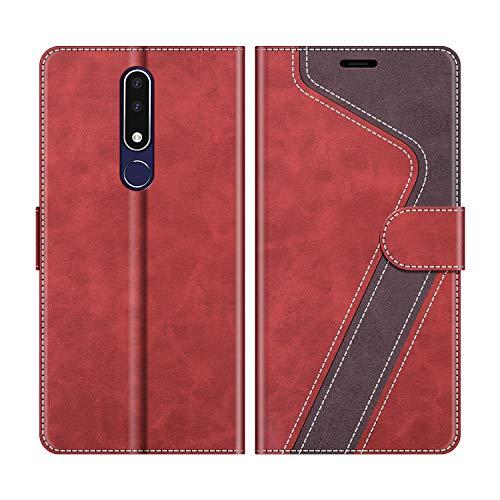 MOBESV Handyhülle für Nokia 3.1 Plus Hülle Leder, Nokia 3.1 Plus Klapphülle Handytasche Hülle für Nokia 3.1 Plus Handy Hüllen, Modisch Rot
