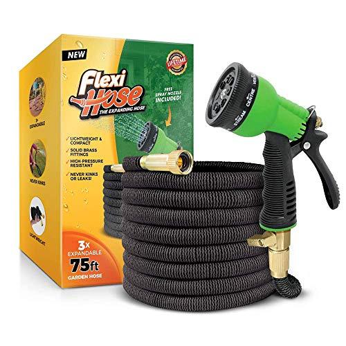 Flexi Hose Upgraded Expandable Garden Hose, Extra Strength, 3/4' Solid Brass...
