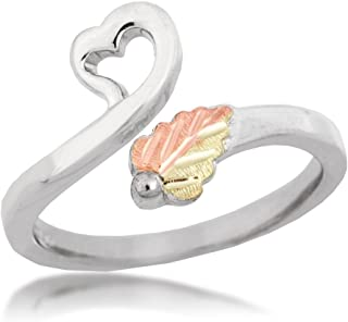 Slim-Profile Heart Bypass Toe Ring, Sterling Silver, 12k Green and Rose Gold Black Hills Gold Motif