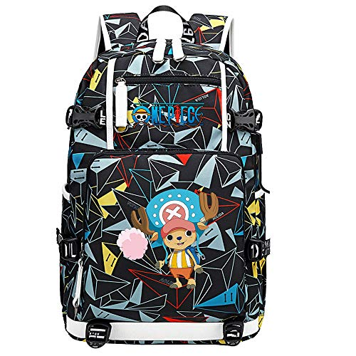 ZZGOO-LL One Piece Monkey·D·Luffy/Tony Tony Chopper Umhängetasche Outdoor-Rucksack für viel Aufbewahrungstasche USB Unisex-F