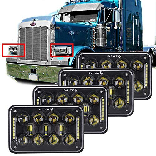"""COWONE 60w 4x6"""" inch LED Rectangular Headlights Replacement for H4651 H4652 H4656 H4666 H6545 Peterbil Kenworth Freightinger 4Pcs"""