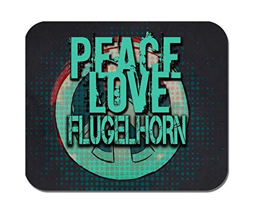 Makoroni - Peace Love Flugelhorn Music- Non-Slip Rubber - Computer, Gaming, Office Mousepad