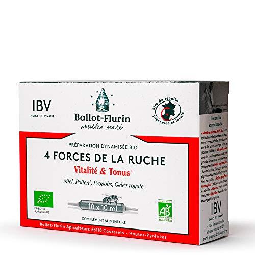 Ballot-Flurin - Préparation Dynamisée Bio 4 Forces de la Ruche - Vitalité • Tonus • Immunité - Miel, Pollen, Propolis & Gelée Royale française - Certifié bio - Boite de 10 ampoules