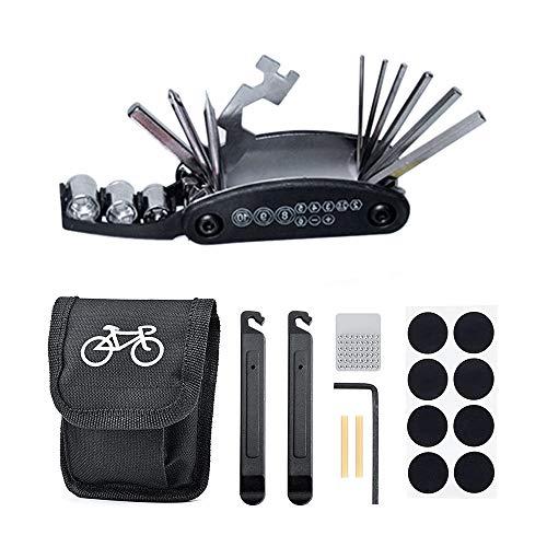Wencaimd 16-in-1 Fahrradreifen Reparaturset, Fahrrad Reparatur Set mit Tasche, Selbstklebendes Fahrradflicken für Mountain Road Bike Radfahren