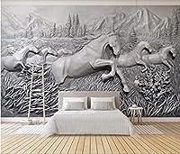 MAZF ロールのカスタム壁画3d写真の壁紙エンボス馬と8頭の馬の家の装飾の壁紙壁用3dリビングルーム250cm(B)x 200 cm(H)