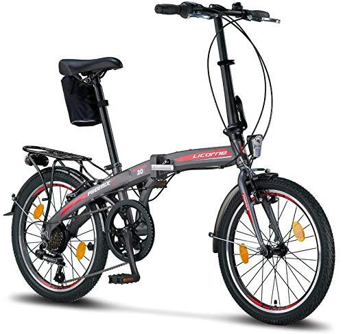 Licorne Bike Phoenix, 20 Zoll Aluminium-Faltrad-Klapprad, Faltfahrrad-Herren-Damen, 7 Gang Shimano Kettenschaltung - Folding City Bike, Alu-Rahmen, Abdeckung, StVZO, Vorderlampe, Hinterlampe