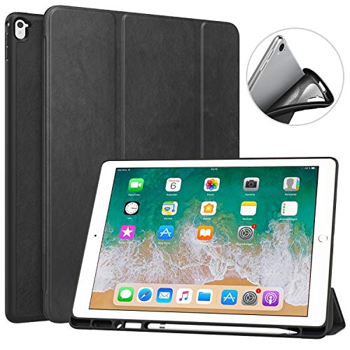 MoKo Case Fit iPad Pro 12.9 2017/2015 with Apple Pencil Holder - Slim Lightweight Smart Shell Stand Cover Case with Auto Wake/Sleep Fit Apple iPad Pro 12.9 Inch Tablet(1st & 2nd Gen), Black