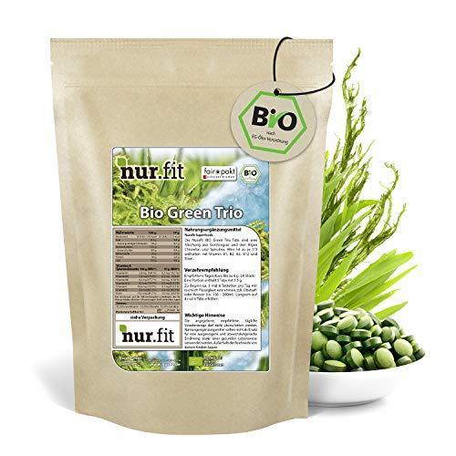 nur.fit by Nurafit BIO Green Trio Tabletten 500g / 2000 Stück – rein natürliche Presslinge aus Gerstengras, Chlorella und Spirulina – hochdosierte Greens Tabs in Rohkostqualität – vegan Superfood