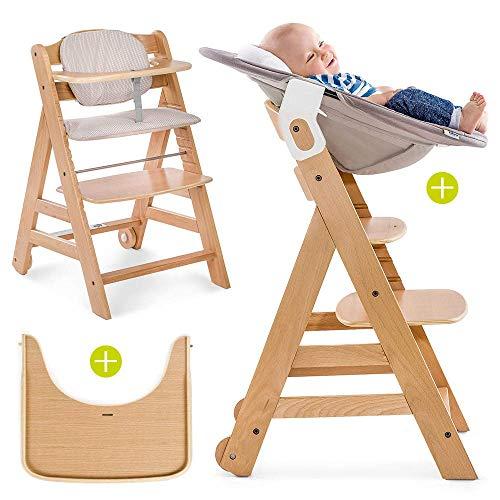 """Hauck Beta Plus Newborn Set - Baby Holz Hochstuhl ab Geburt mit Liegefunktion/inkl. Aufsatz für Neugeborene\""""Bärchen beige\"""", Sitzpolster, Tisch/mitwachsend, höhenverstellbar - Natur Beige"""