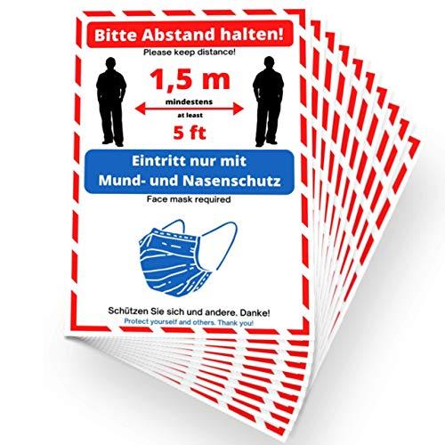 10x Schild Maskenpflicht Abstand halten Aufkleber - Mundschutz Hinweisschild in Deutsch und Englisch DIN-A4 Mund & Nasenschutz Warnschild wetterfest