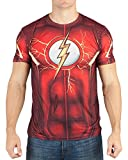 DC Comics Mens Flash Suit Up Sublimated Costume T-Shirt (XX-Large) Red