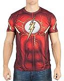 DC Comics Mens Flash Suit Up Sublimated Costume T-Shirt (Medium) Red