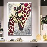 N / A Toile Peinture Parent-Enfant Amour Girafe Affiche Animal Photo Salon Chambre décoration de la Maison sans Cadre 60x80 CM
