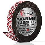 Reorda® Magnetband selbstklebend | Verbesserte Haftkraft durch starkem 3M-Kleber | Magnetband mit optimierter Magnetkraft durch Anisotropic Material | Anwendbar in Küche, Schule & Büro