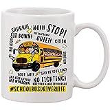 El conductor del autobús escolar sea amable con él regalo de regreso a la escuela para hombres papá esposo taza de té de café de cerámica blanca taza 11 oz