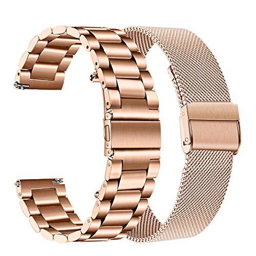 TRUMiRR Compatibile con Galaxy Watch 42mm/Galaxy Watch Active/Gear Sport Cinturino,20mm Cinturino in Maglia di Metallo Solido in Acciaio Inossidabile per Garmin Vivoactive 3/Garmin Vivoactive 3 Music