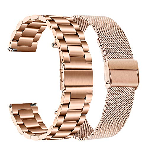 TRUMiRR Rose Gold Band Sets for Garmin Vivomove HR/Vivoactive 3, 20mm Stainless Steel Metal Watchband + Mesh Loop Strap Quick Release for Forerunner 645/245 Music, Venu, Vivomove 3 / Luxe/Style