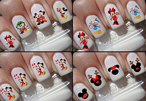 Weihnachten Nail Sticker Decals Disney Mickey Mouse Disney Minnie Maus Köpfe Zeichen 4 Pack Kit