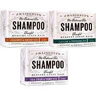 J·R·LIGGETT'S All-Natural Shampoo Bars -Tea Tree & Hemp Oil, Jojoba & Peppermint and Coconut & Argan Oil, Nourishes Follicles with Antioxidants and Vitamins, Sulfate-Free, Set of Three, 3.5 Ounce Bars